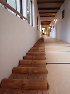A pathway of takefumi along the school corridor