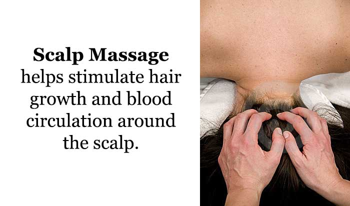 Scalp massage helps stimulate hair growth