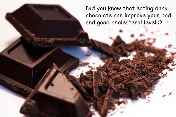 Eating dark chocolate can improve your bad and good cholesterol levels including blood sugar levels